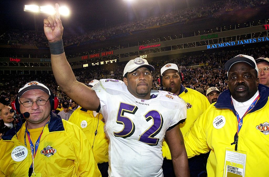 Baltimore Ravens' Ray Lewis celebrates after his team crushed the New York Giants in Super Bowl XXXV