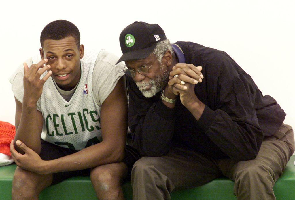 Boston Celtics' Paul Pierce and legend Bill Russell in 2000