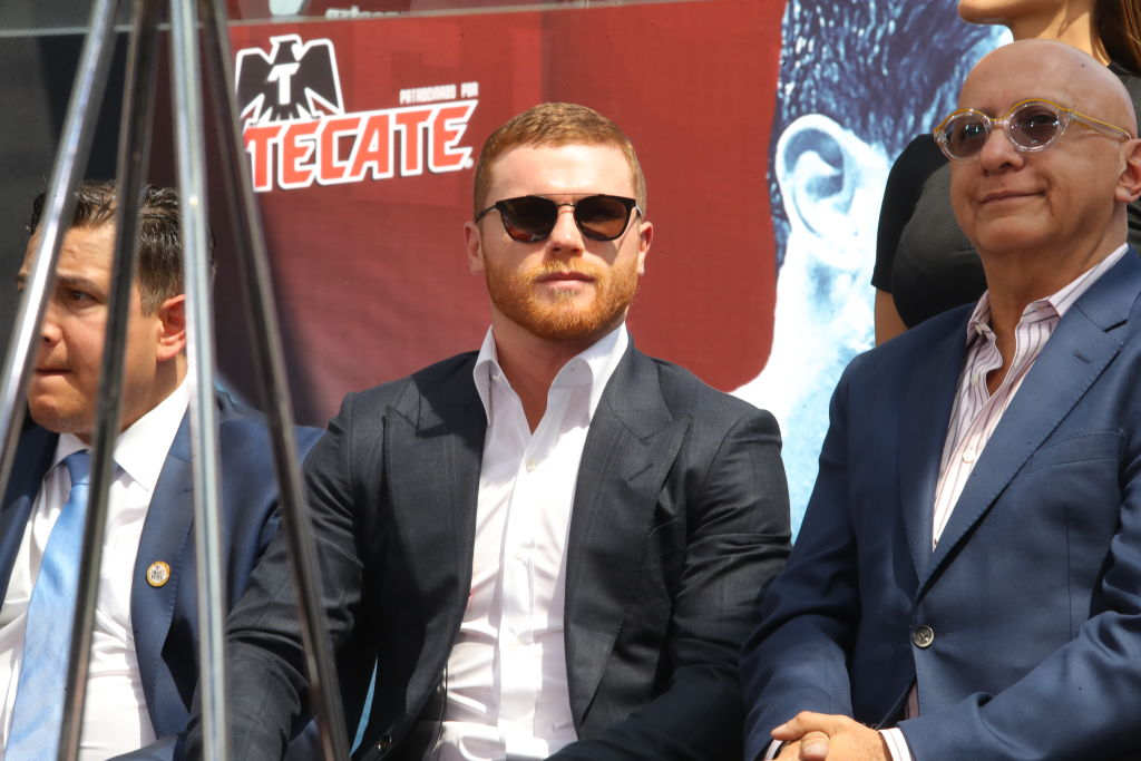 Canelo Alvarez and Daniel Jacobs attend a press conference in 2019