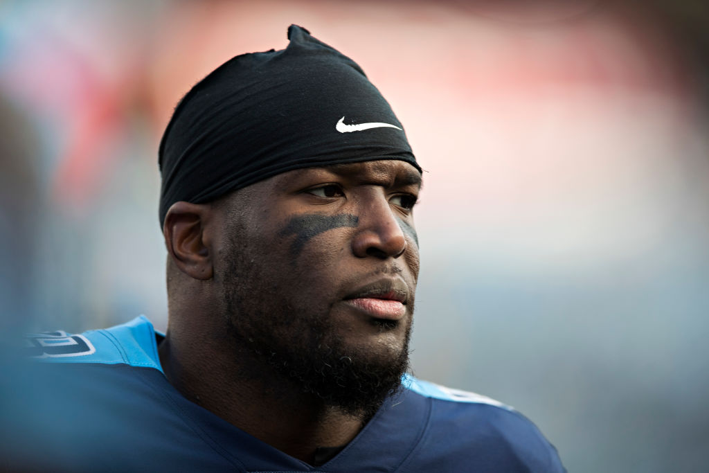 Brian Orakpo staring on before the start of an NFL game