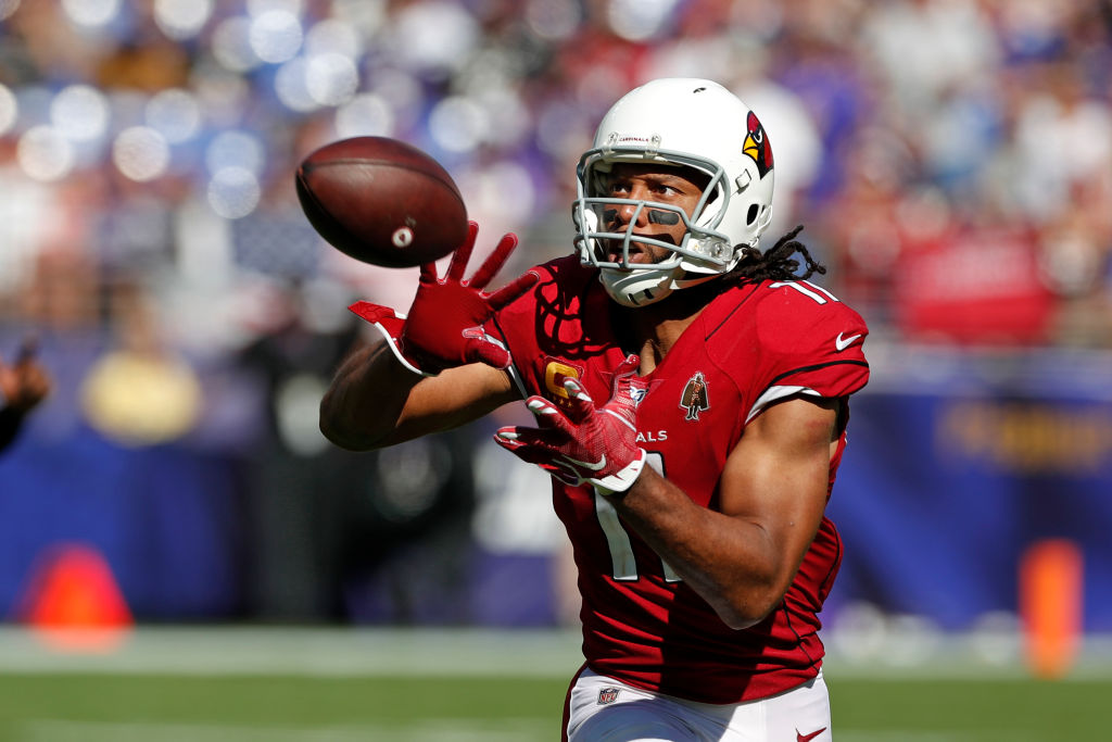 Larry Fitzgerald about to catch a pass