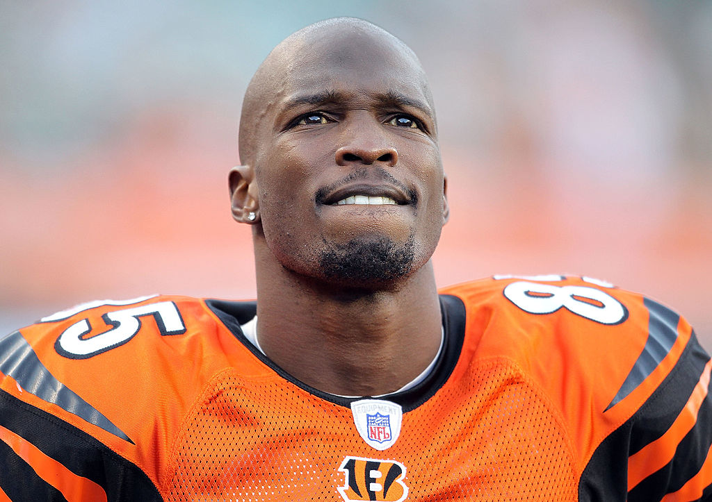 Chad 'Ochocinco' Johnson looking on from the sideline