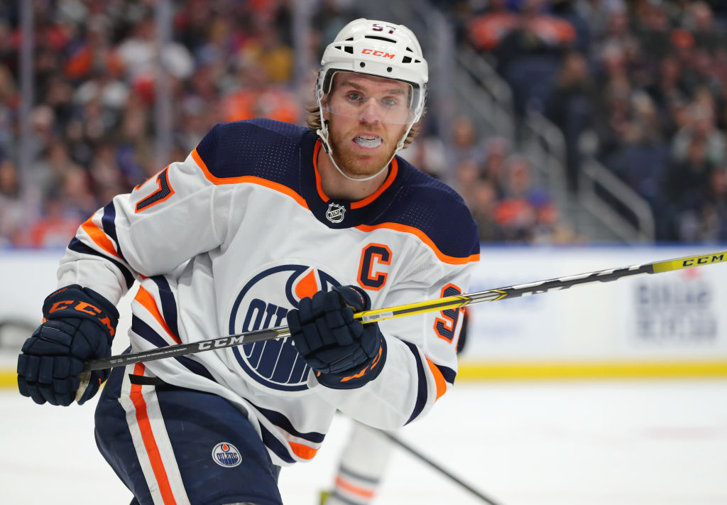 Connor McDavid of the Edmonton Oilers looks for the puck