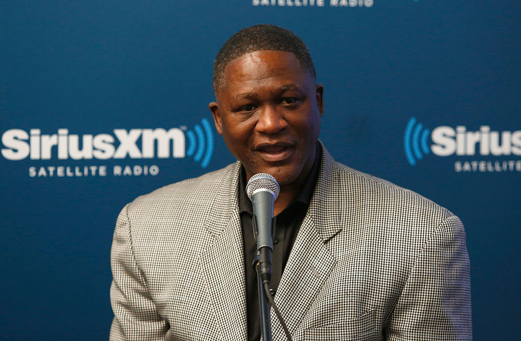 Dominique Wilkins talking to the media at a press event
