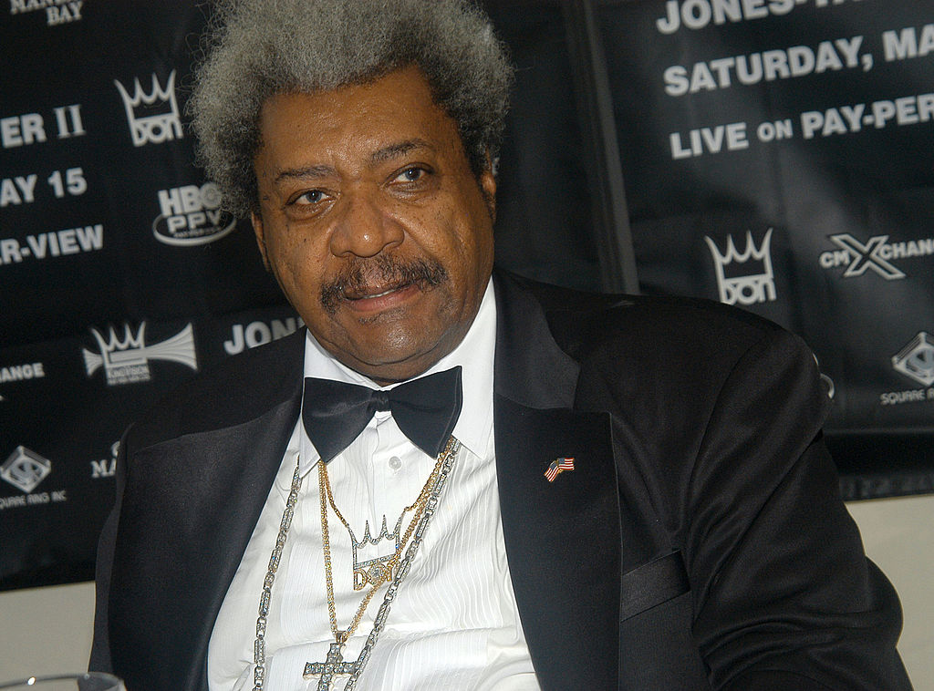 Don King at a press conference for a boxing match