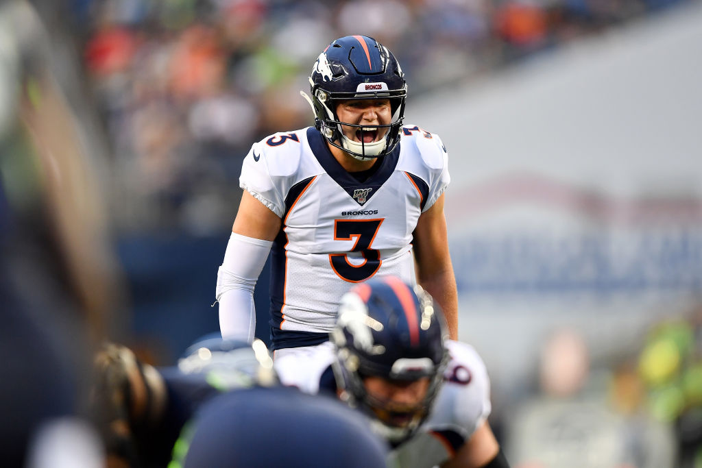 Drew Lock of the Denver Broncos calls a play in 2019