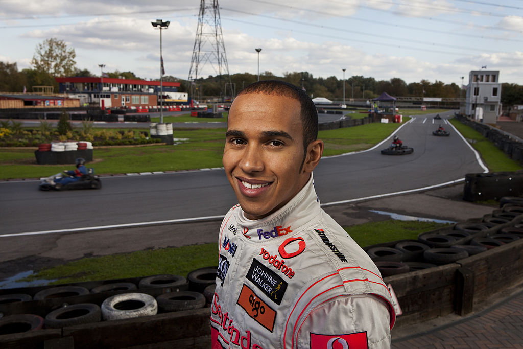 Formula 1 racing driver Lewis Hamilton at Rye House kart track in 2008