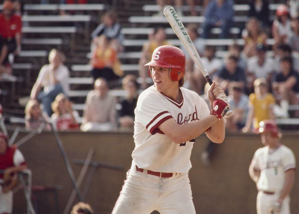 Future NFL quarterback John Elway of Stanford University plays baseball in 1980