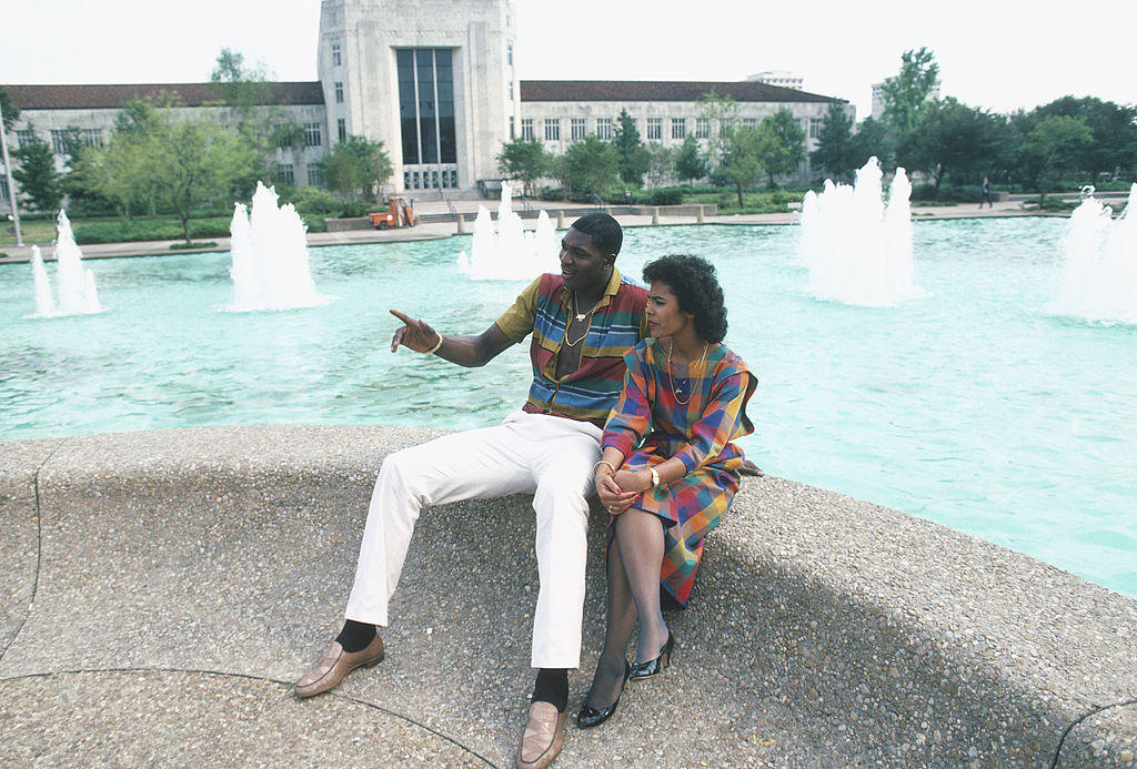 Hakeem Olajuwon of the Houston Rockets with his first wife in 1980