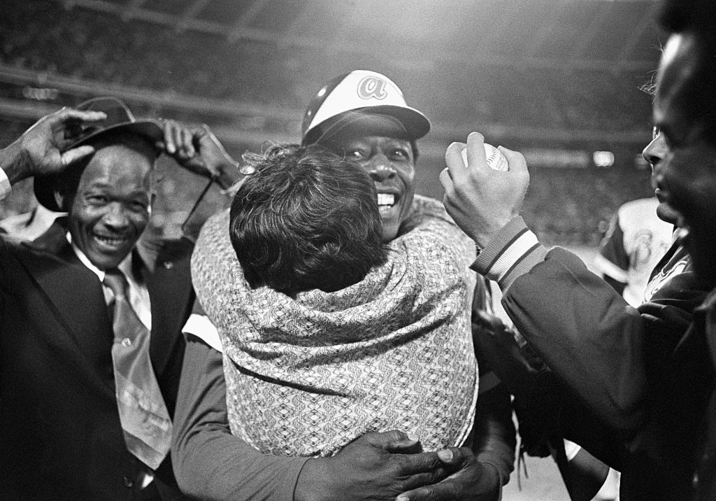 Atlanta Braves legend Hank Aaron hit his 715th home run on April 8, 1974. Aaron hugged his mother, Estella, after the record-breaking homer.