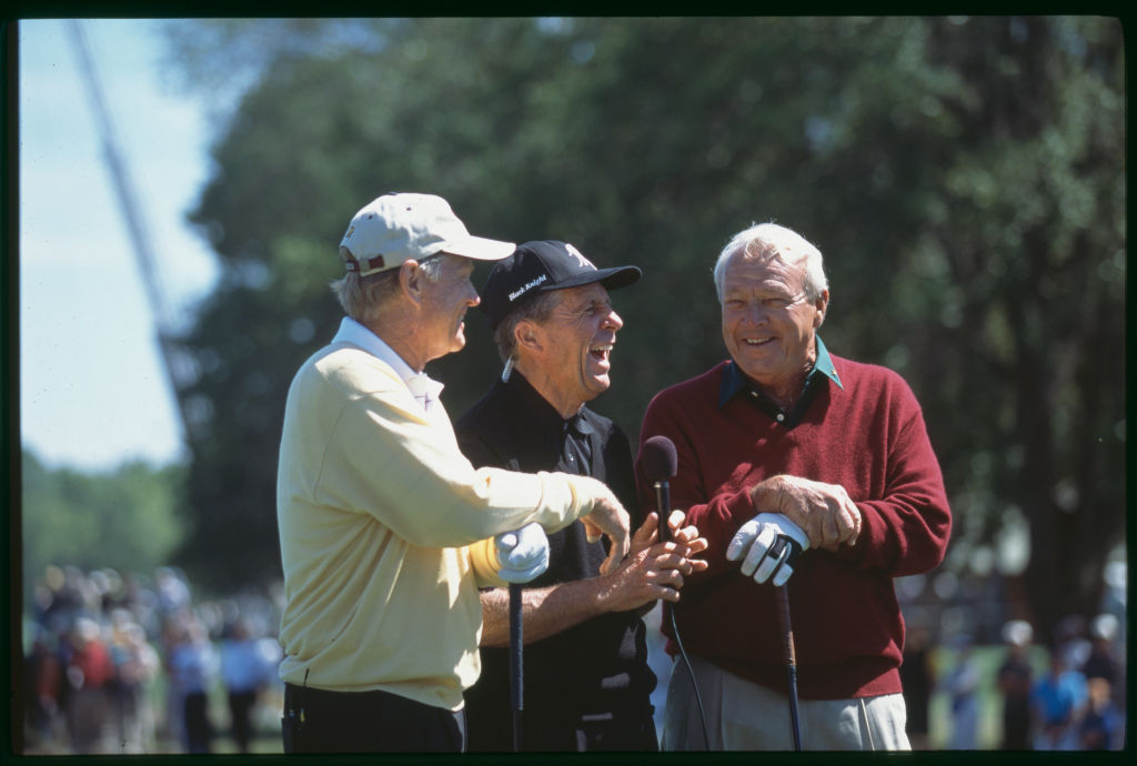 Jack Nicklaus, Gary Player, and Arnold Palmer at the 2001 Shell Wonderful World Of Golf