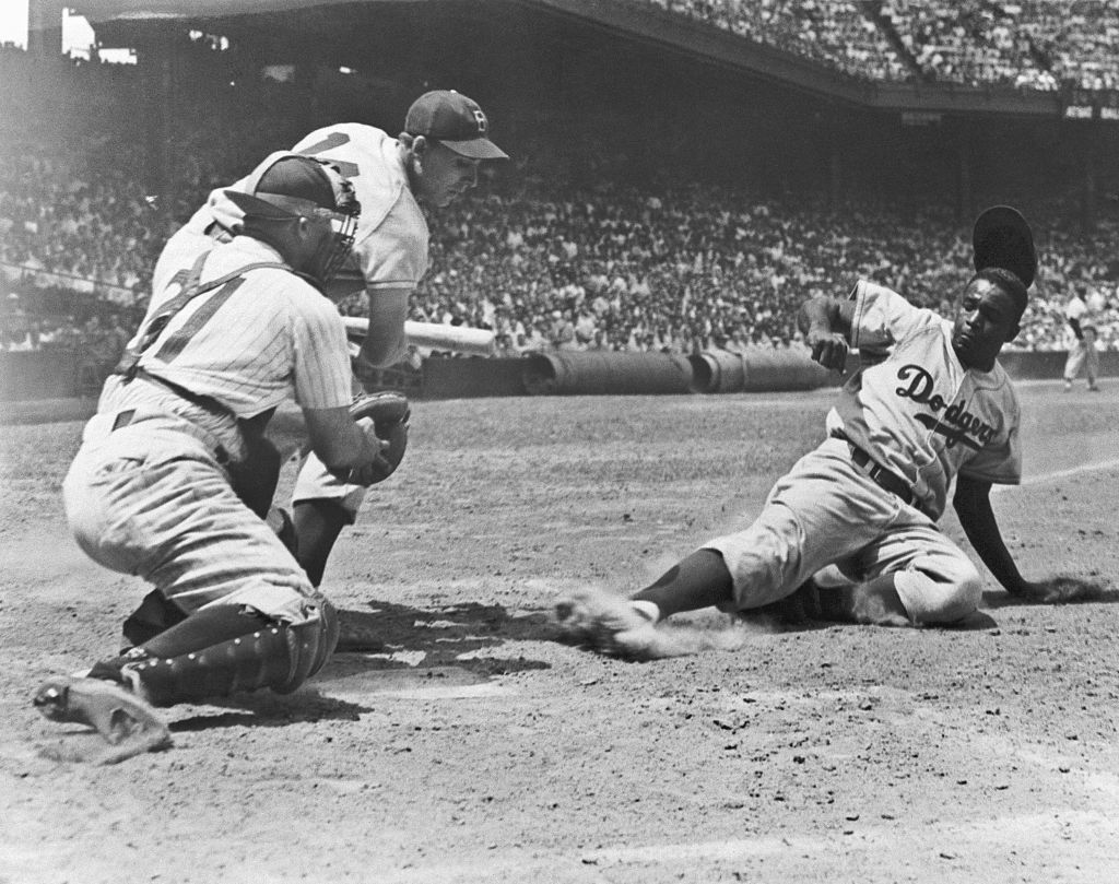 Jackie Robinson debuted with the Brooklyn Dodgers on April 15, 1947. Robinson was the first black player in MLB history.