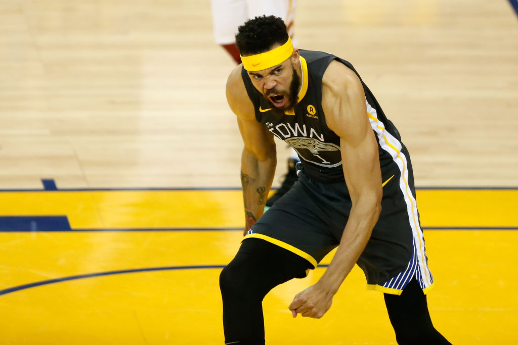 Javale McGee celebrating during a Warriors game
