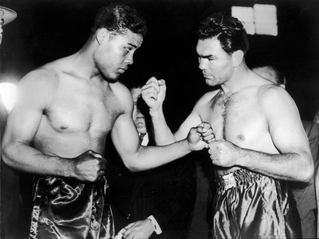 Joe Louis And Max Schmeling posing for a picture before a fight