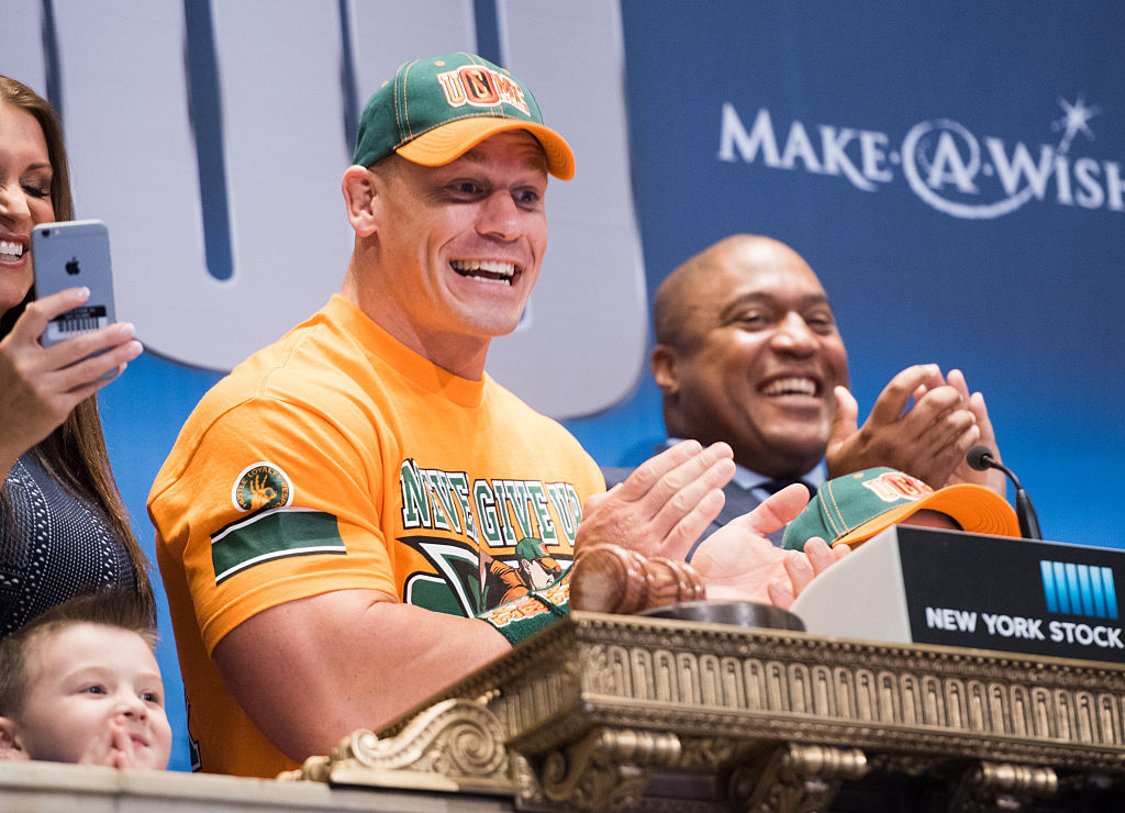 John Cena ringing the bell at the New York Stock Exchange