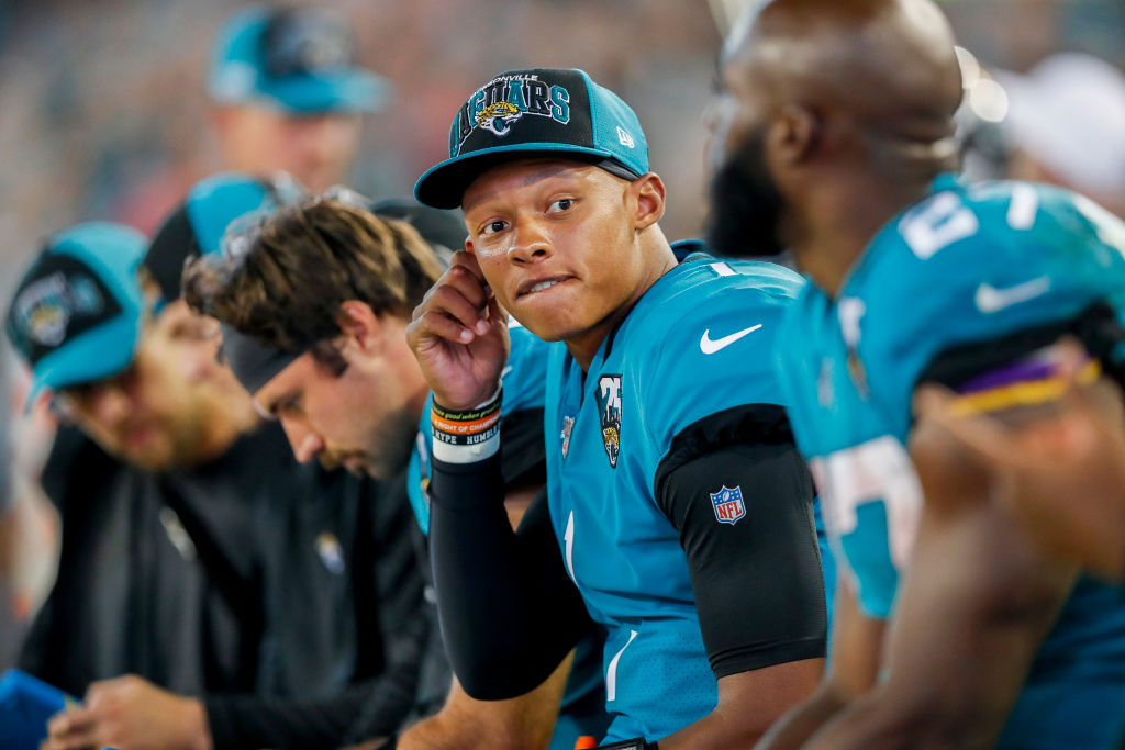 Joshua Dobbs of the Jacksonville Jaguars looks on from the sidelines