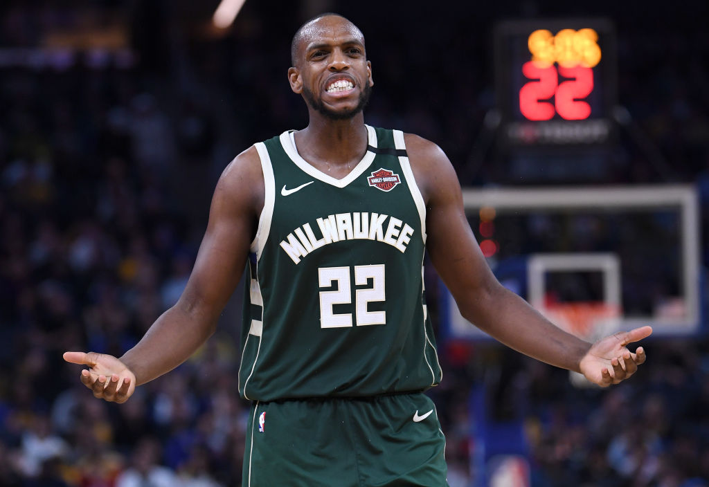 Khris Middleton of the Milwaukee Bucks reacts after being called for a foul