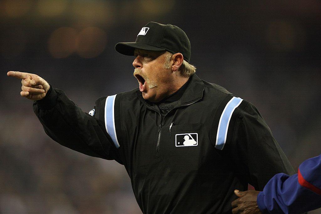 MLB umpire Jim Joyce yells during a 2008 MLB game