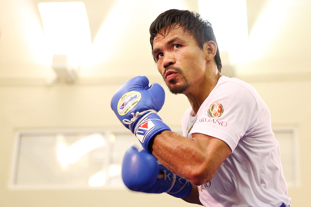 Manny Pacquiao training for a boxing match