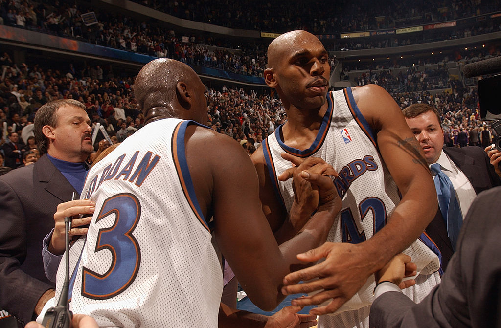 Longtime NBA guard Jerry Stackhouse (right) played with legend Michael Jordan with the Washington Wizards in 2002-03.