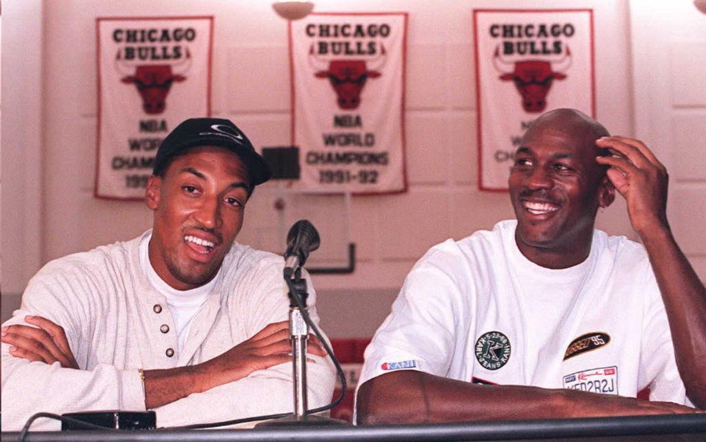 Former Chicago Bulls Michael Jordan and Scottie Pippen