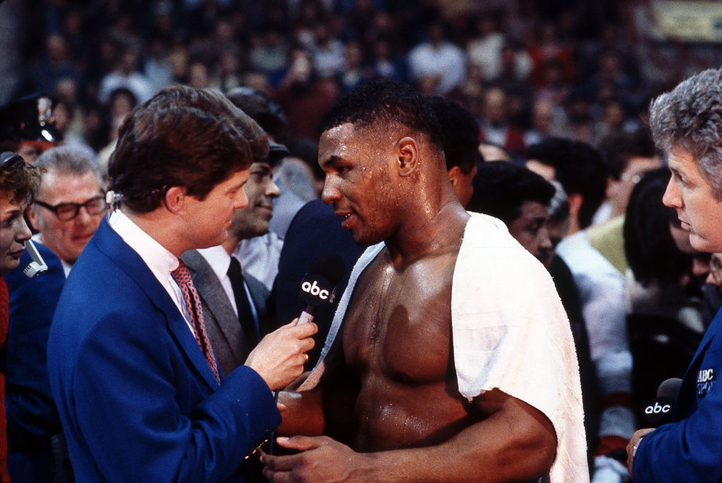 Mike Tyson giving a post-match interview