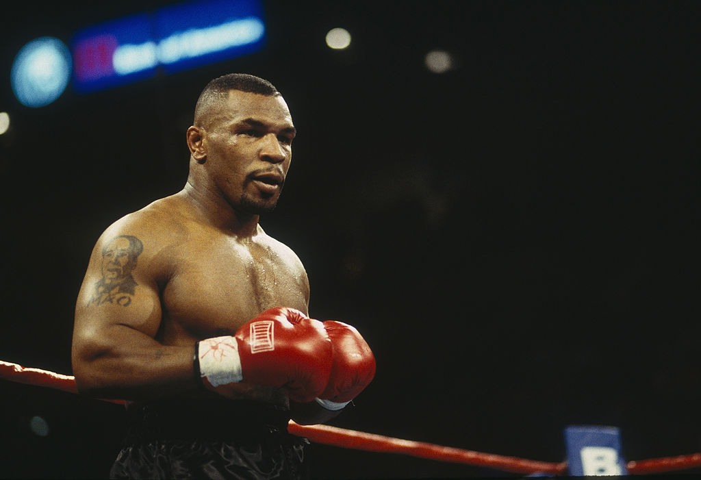 Mike Tyson standing in his corner before a fight