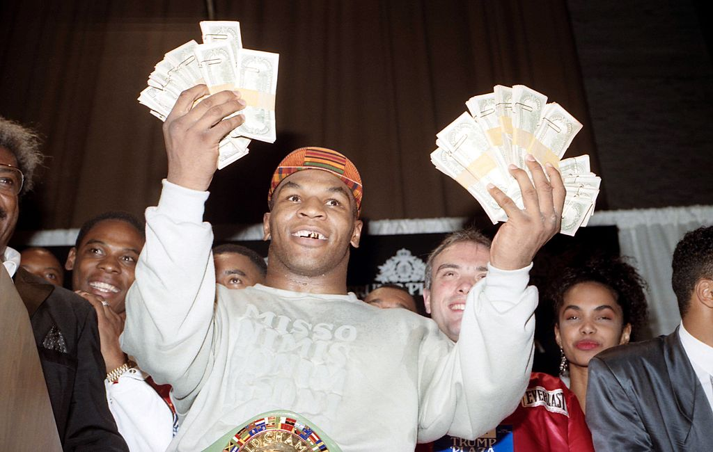 Mike Tyson spent plenty of prize money on luxurious purchases, including a $2 million bathtub.