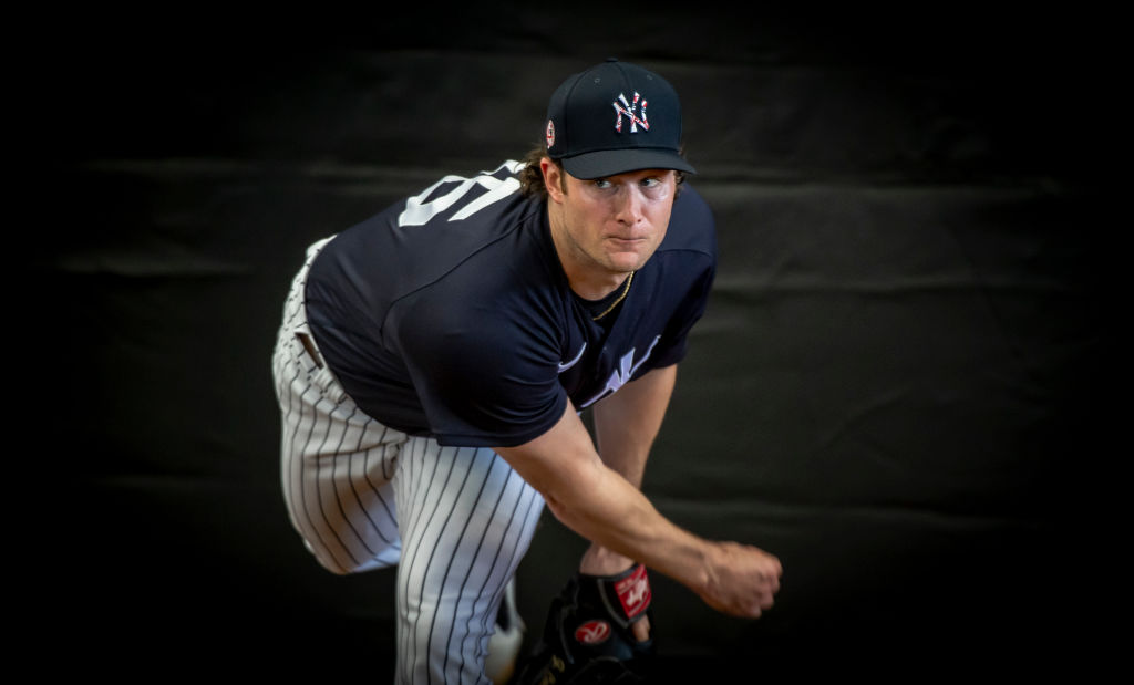 Yankees pitcher Gerrit Cole throwing in the bull pen in 2020