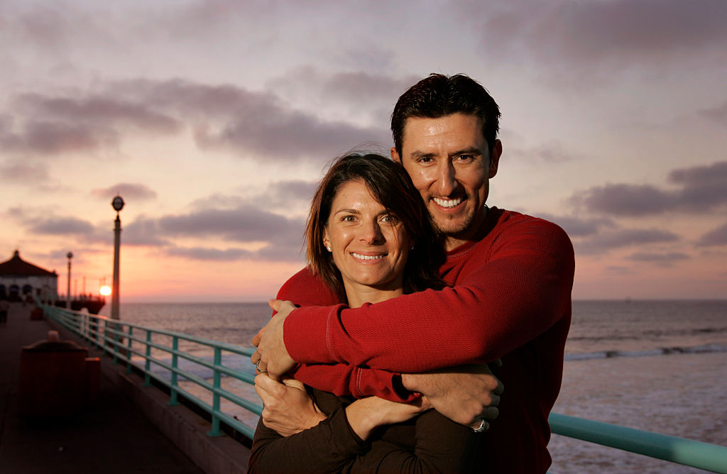 MLB player Nomar Garciaparra and former soccer star Mia Hamm on the Manhattan Beach pier near their home