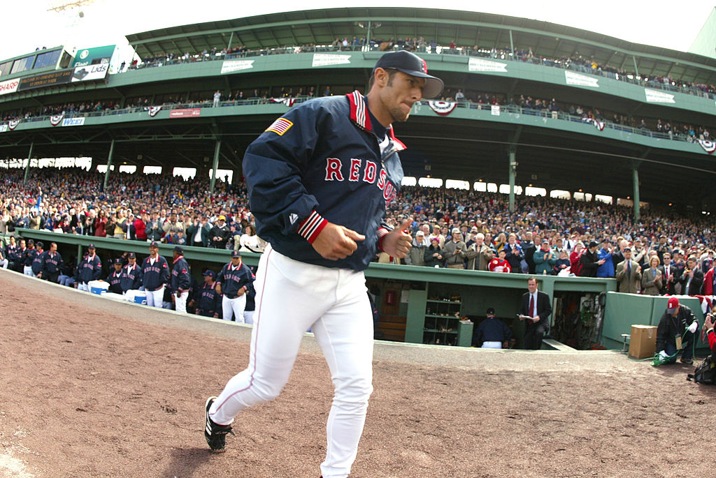 Nomar Garciaparra of the Boston Red Sox is introduced on Opening Day in 2002