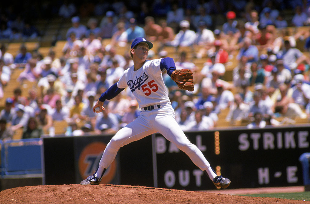 Orel Hershiser of the Los Angeles Dodgers pitches in 1986