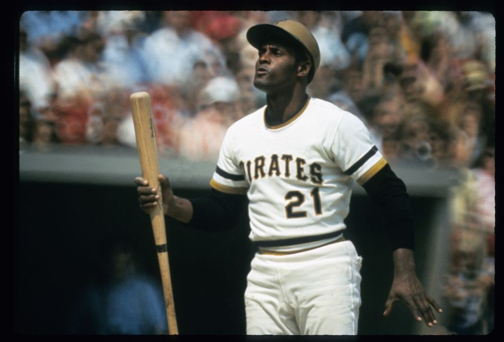 Outfielder Roberto Clemente of Pittsburgh Pirates stands at home plate