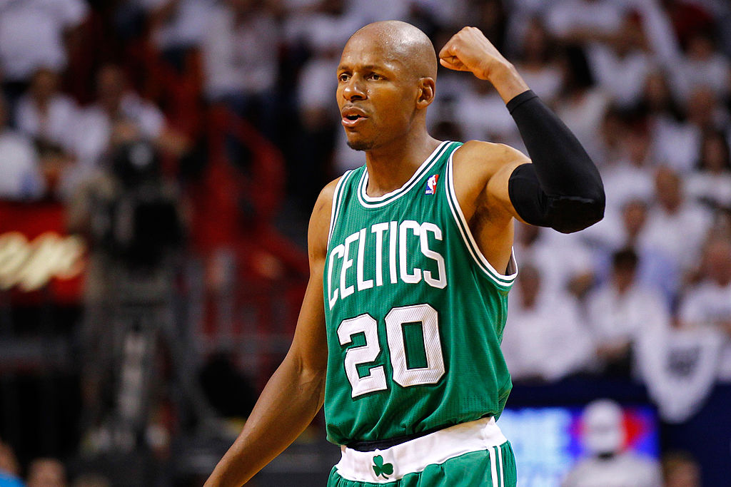 Ray Allen reacts to a call during a Boston Celtics game