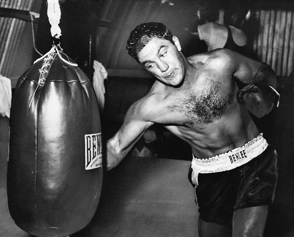 Rocky Marciano hitting a heavy bag