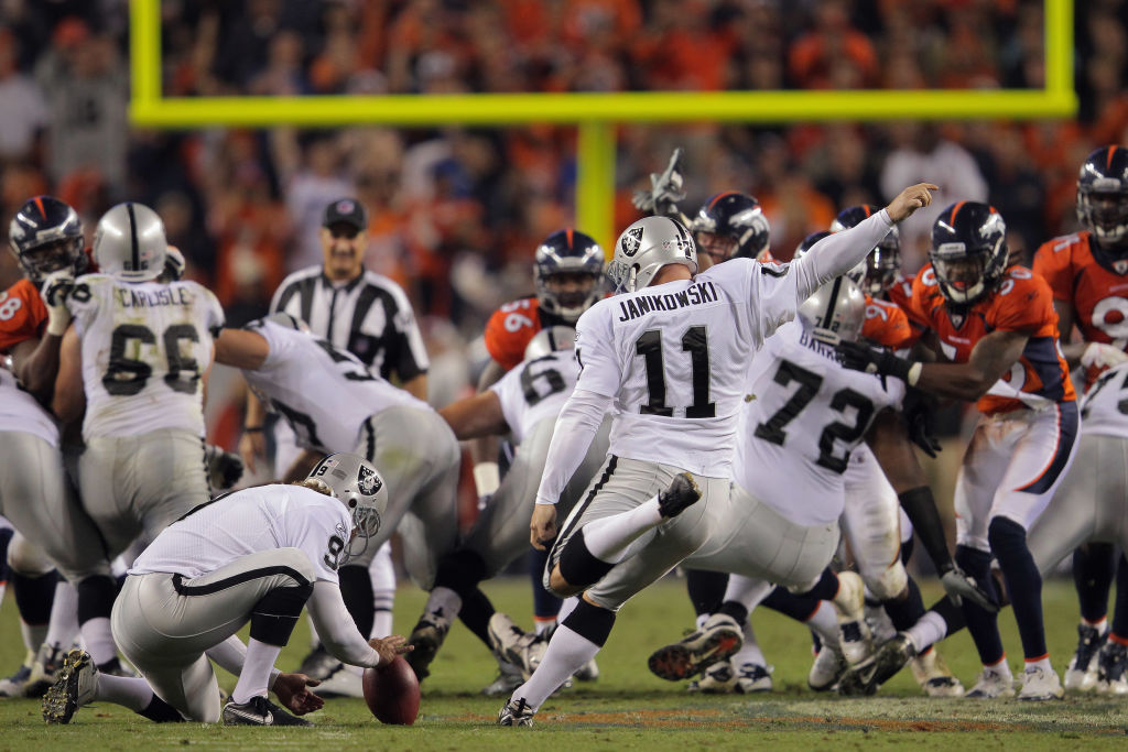 Sebastian Janikowski is the last kicker to get selected in the first round of the NFL draft.