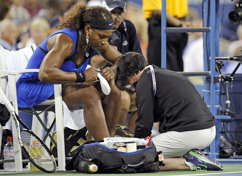 Serena Williams addresses a foot problem