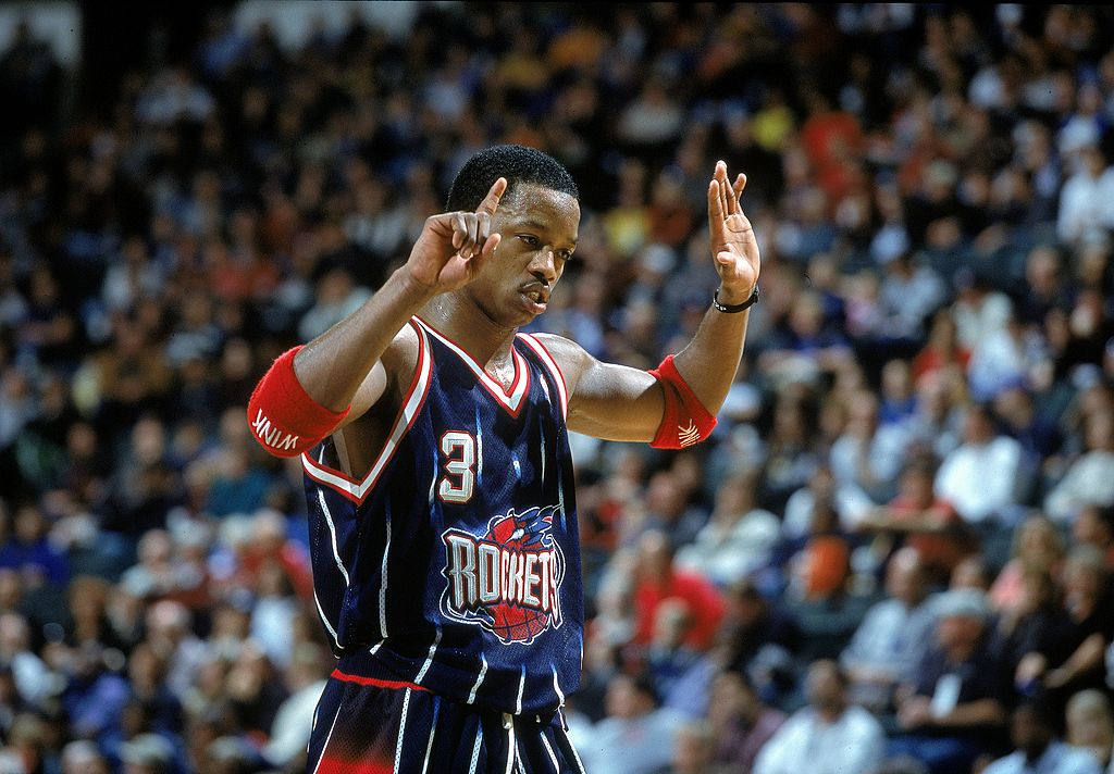 Steve Francis of the Houston Rockets signals on the court