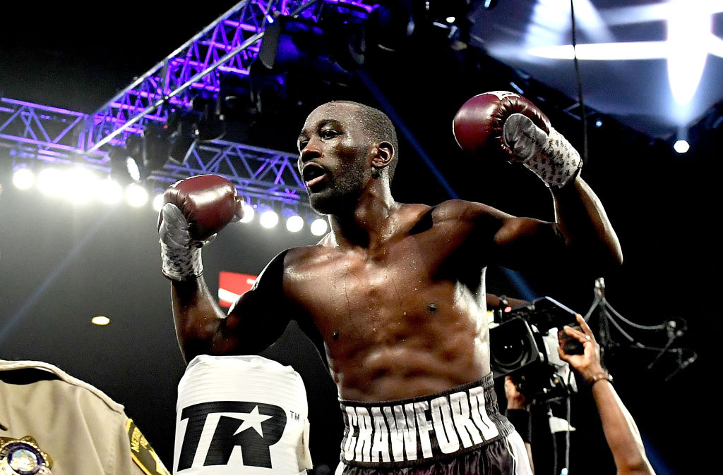 Terence Crawford celebrating after winning a boxing match