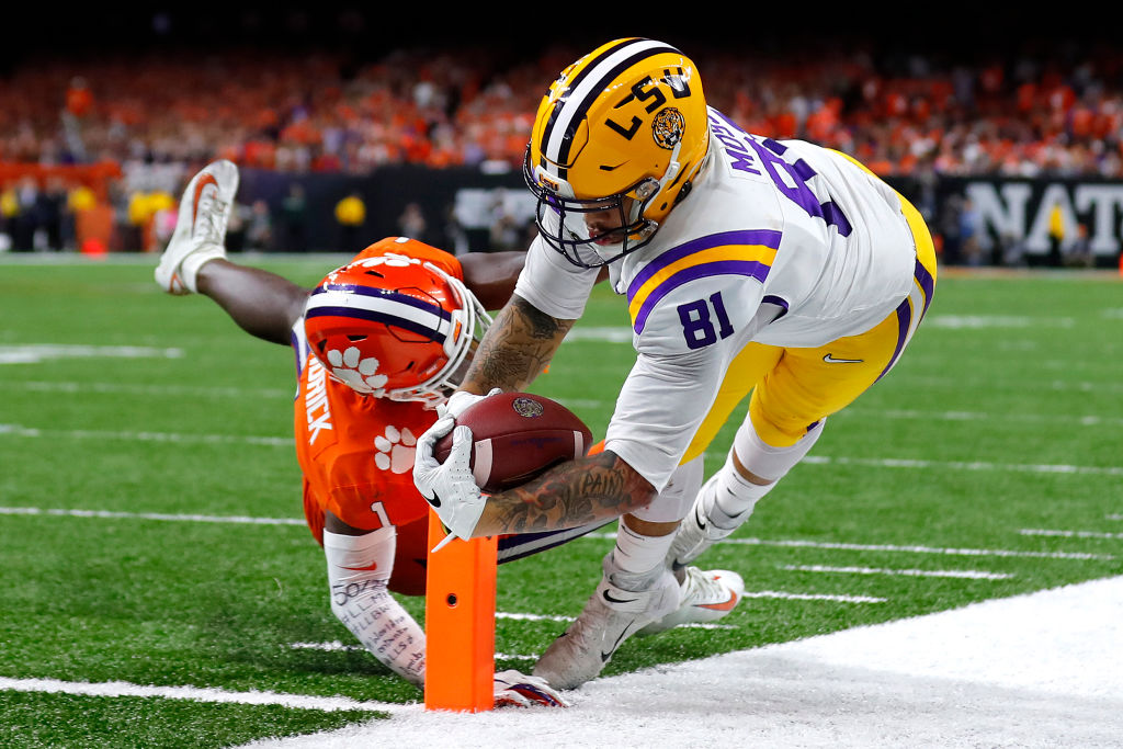 LSU Tigers tight end Thaddeus Moss is the son of NFL Hall of Fame receiver Randy Moss. Thaddeus Moss caught four touchdowns for the Tigers in 2019.