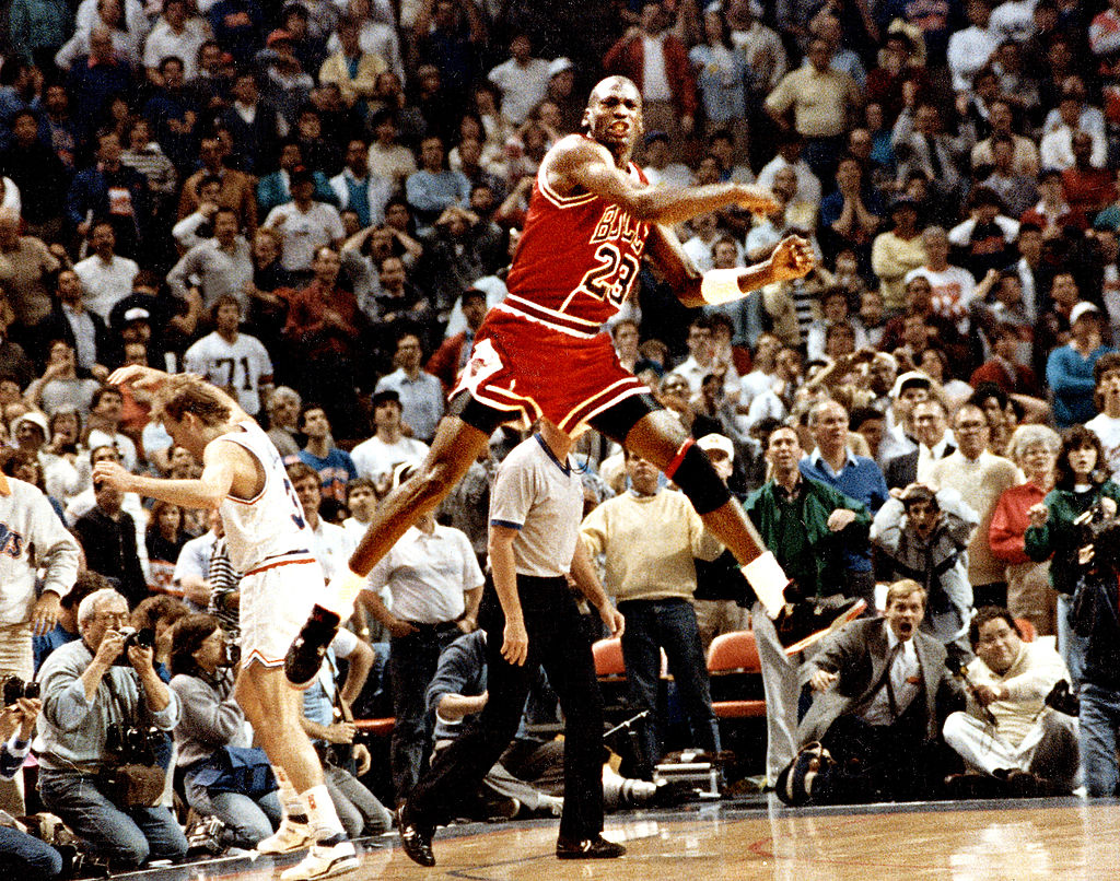 The Chicago Bulls' Michael Jordan reacts after hitting a game-winning basket in 1989
