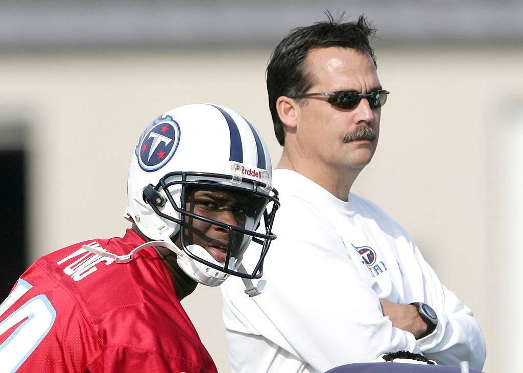 Vince Young and Jeff Fisher at Titans practice
