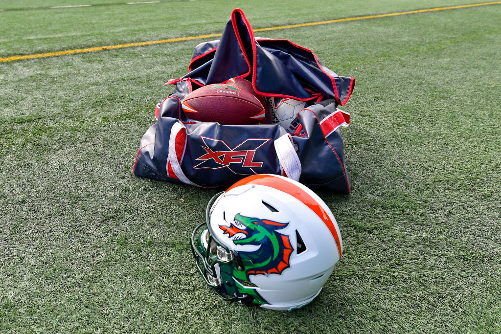 The XFL Seattle Dragons football helmet and ball bag after practice