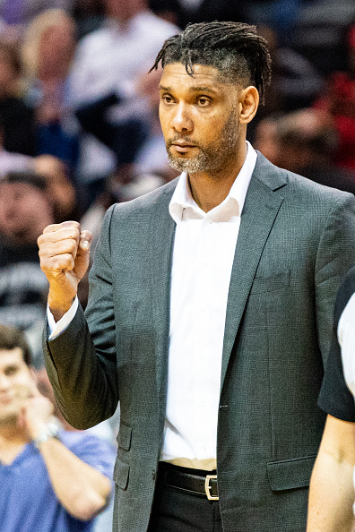 Tim Duncan coaching with the Spurs