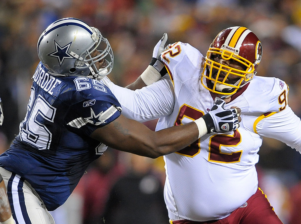Former Titans and Redskins defensive tackle Albert Haynesworth once stomped on Cowboys center Andre Gurode's head. The two later became friends.