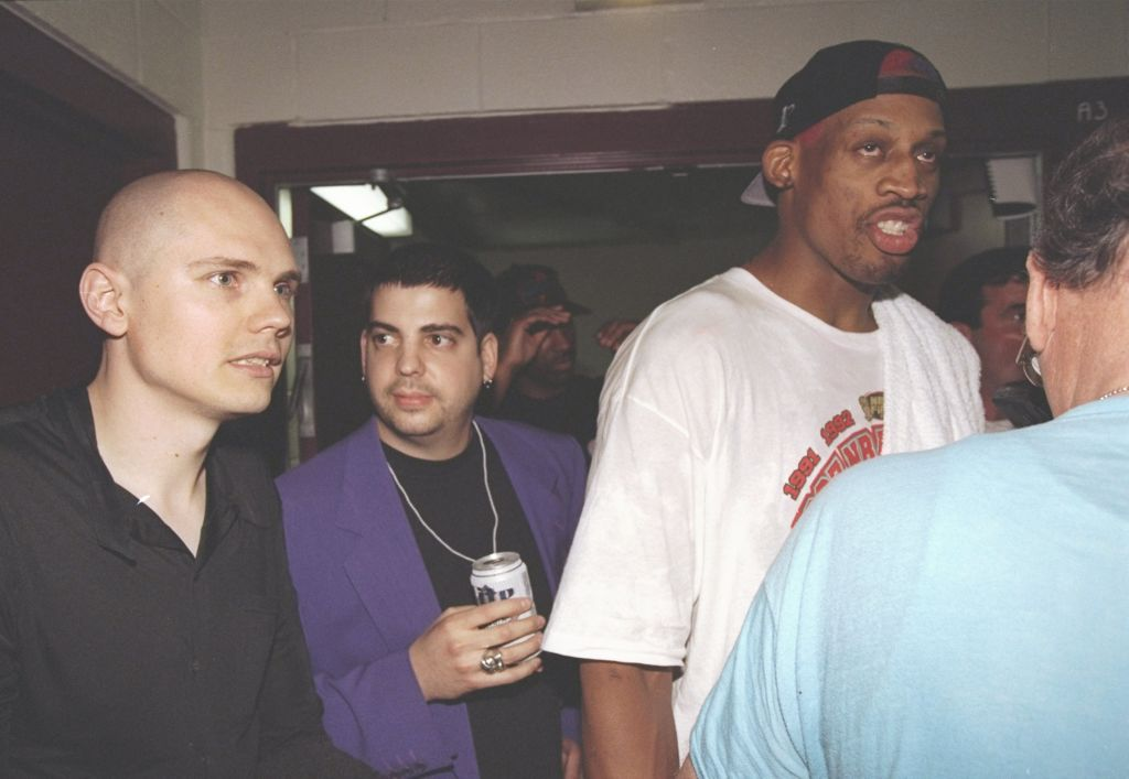 Dennis Rodman and Billy Corgan in the Bulls locker room