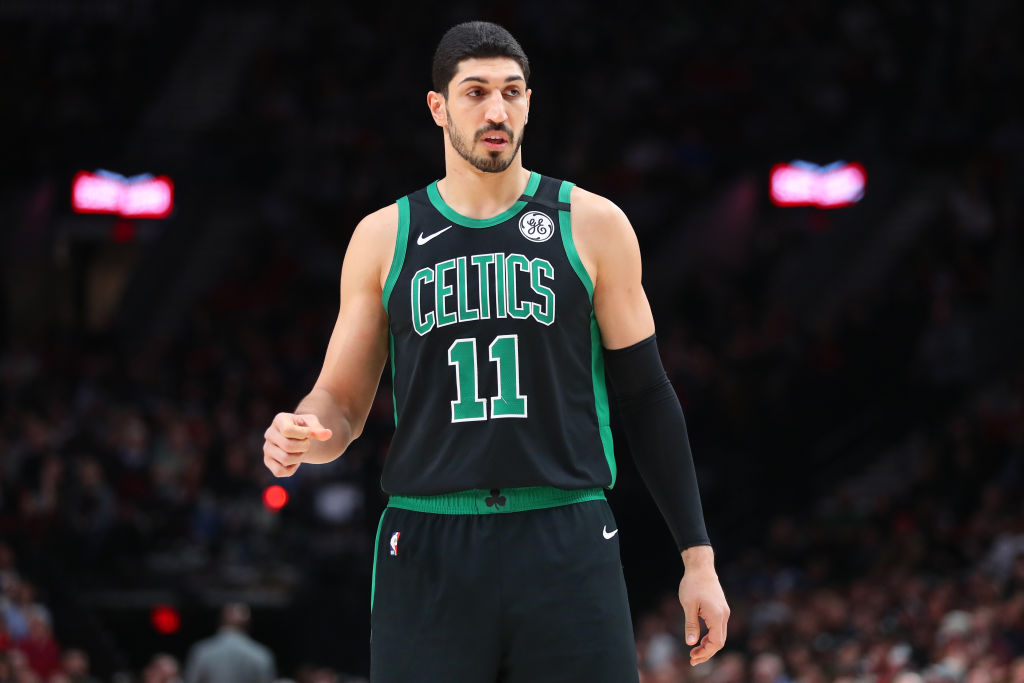 Enes Kanter getting back down the court during a Celtics game