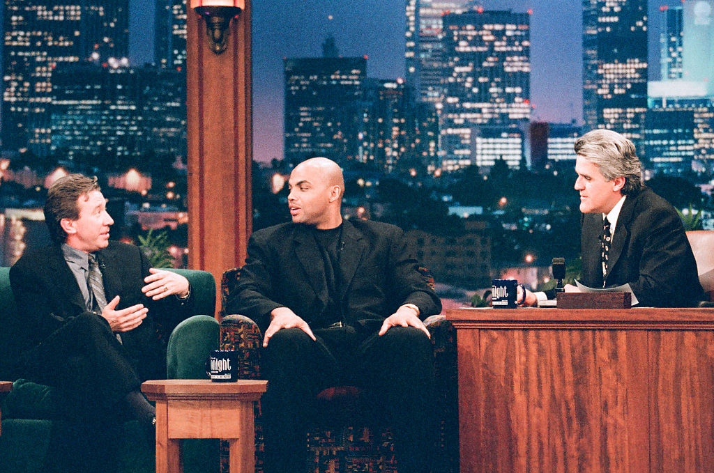 Comedian Tim Allen and NBA player Charles Barkley talk with Jay Leno in 1997