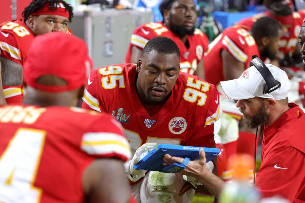 Chris Jones of the Kansas City Chiefs looks at a play in Super Bowl LIV