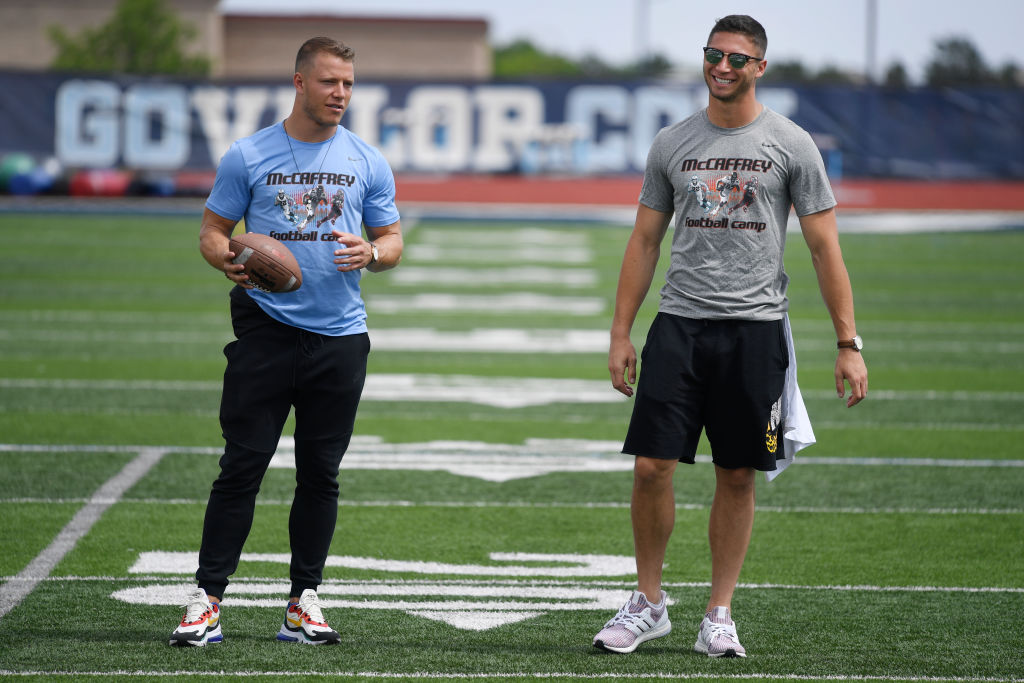 Christian McCaffrey and his brother at a football camp